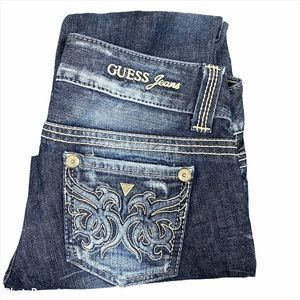 Guess distressed Back Pocket Triangle Jeans Sz 26